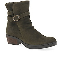 Fly London - Khaki suede 'Cimp' mid heeled ankle boots