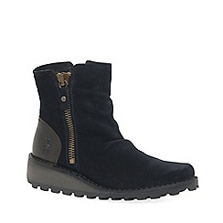 Fly London - Navy suede 'Mon' womens flat ankle boots