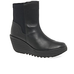Fly London - Black leather 'yuan' high wedge heeled ankle boots