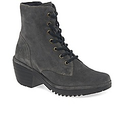 Fly London - Dark grey suede 'Woke' womens mid heeled lace up ankle boots
