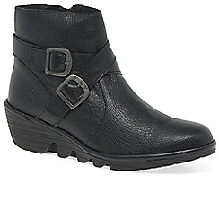 Fly London - Black leather 'Perz' medium wedge heeled ankle boots