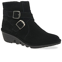 Fly London - Near black leather 'Perz' medium wedge heeled ankle boots