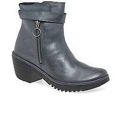 Fly London - Grey leather 'Went' womens mid heeled ankle boots