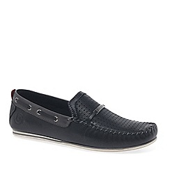 Bugatti - Black Leather 'Brent' Boat Shoes