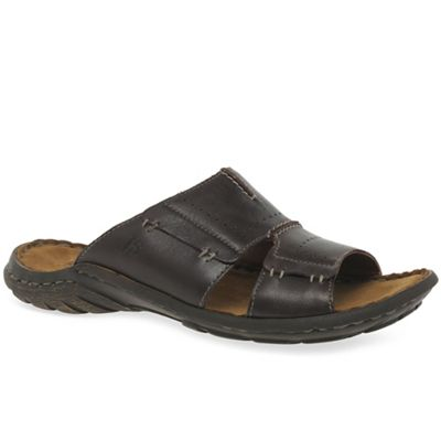 Josef Seibel - Dark brown leather 'Logan Slide' mens mules