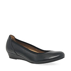 Gabor - Black leather 'Chester' ladies wide fit low wedge pumps