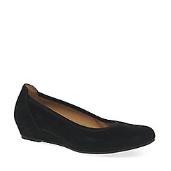 Gabor - Near black suede 'Chester' ladies wide fit low wedge pumps