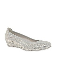 Gabor - Silver leather 'Chester' ladies wide fit low wedge pumps