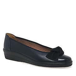116c4a4a474 Gabor - Dark blue leather  Lesley  low heeled wedge ballet shoes