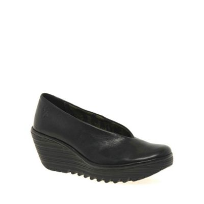 Fly London - Black 'Yaz' Ladies Black Leather Wedge Heeled Shoes