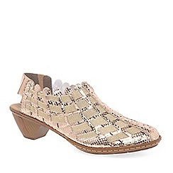 Rieker - Gold leather 'Sina' Leather slingback shoes