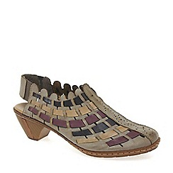 Rieker - Beige 'sina' leather woven heeled shoes