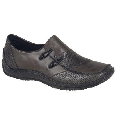 Dark grey leather 'Melgar' low heeled slip on shoes