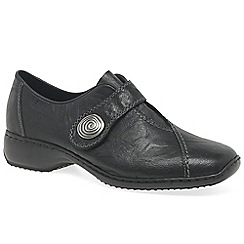 Rieker - Black 'Swanky' Ladies Rip Tape Fastening Leather Shoes