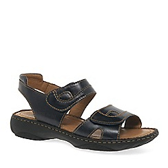 Josef Seibel - Dark blue leather 'Debra' flat sandals