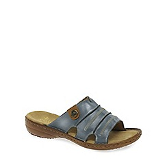 Rieker - Blue 'Roman' leather rouched slip on mules