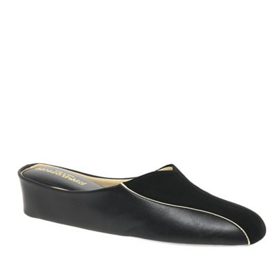Relax - Black 'Martha' Leather and Suede Slippers