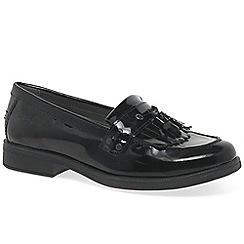 Geox - Girls' black patent 'Agata Tassle' loafers