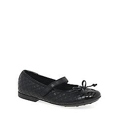 Geox - Black leather 'Junior Plie' riptape girls school shoes