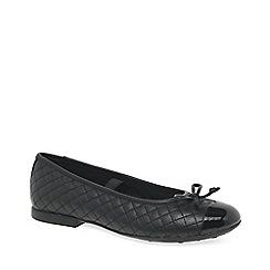 Geox - Black leather 'Junior Plie' girls school shoes