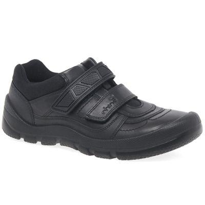 Start-rite - Black leather 'Rhino Warrior' riptape school shoes