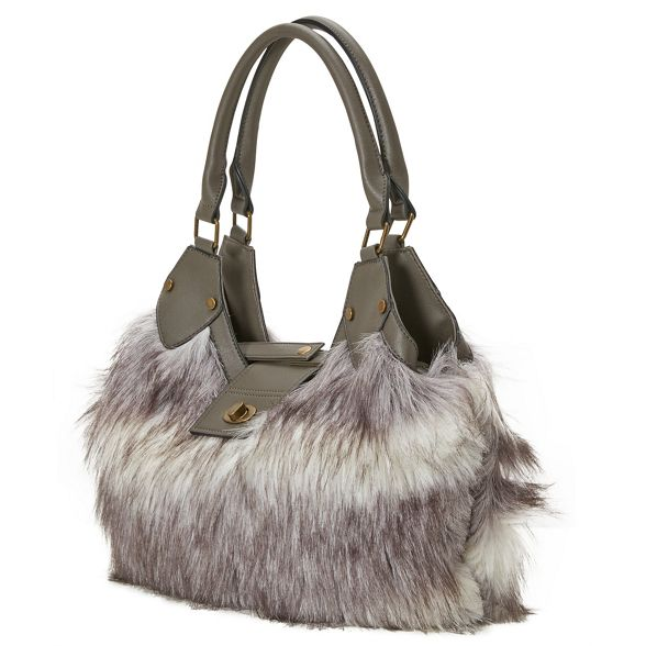 faux anastasia fur Joe bag Browns Grey Cqw6ORF