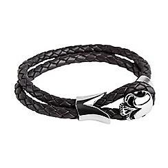 Joe Browns - Black ultimate skull leather bracelet