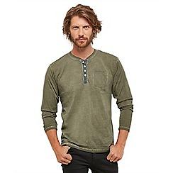 Joe Browns - Khaki 'Ultimate' button neck long sleeve henley t-shirt