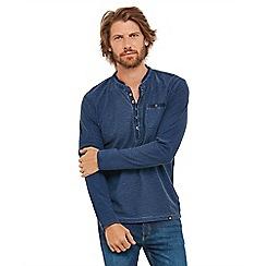 Joe Browns - Blue 'Perfect Placket' button neck long sleeve henley t-shirt