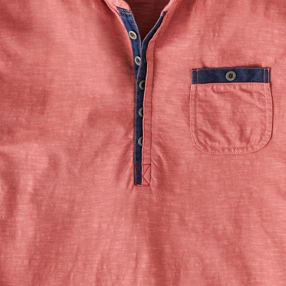shirt 'Perfect long Pink neck Placket' henley button Joe sleeve Browns t BEqgSv