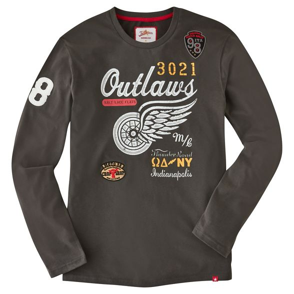 Browns Dark long neck Joe printed grey top crew sleeve 'Outlaws' ZqwdHAn