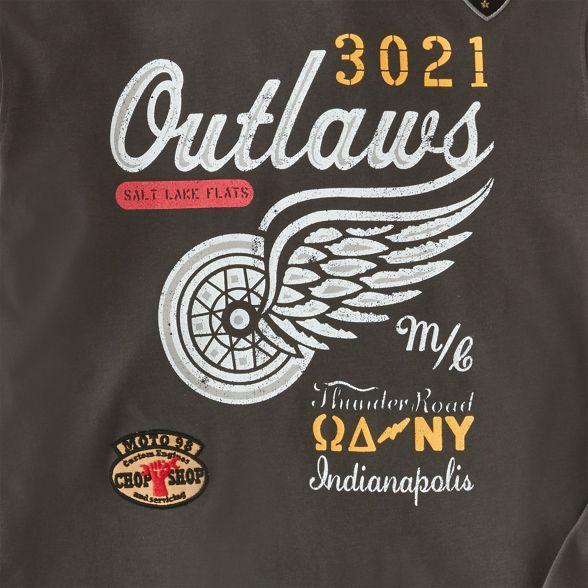 Browns Dark long neck Joe printed grey top crew sleeve 'Outlaws' ZqwdHAn