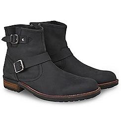 Joe Browns - Black waxed leather buckle biker boots