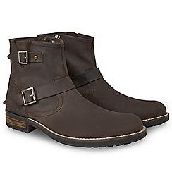Joe Browns - Brown waxed leather buckle biker boots