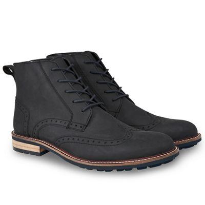 95fac544f9c4 Joe Browns Black Waxed Leather Brogue Boots | Debenhams