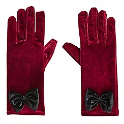 Joe Browns - Red alluring velvet bow gloves