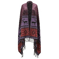 Joe Browns - Multicoloured reindeer blanket shawl