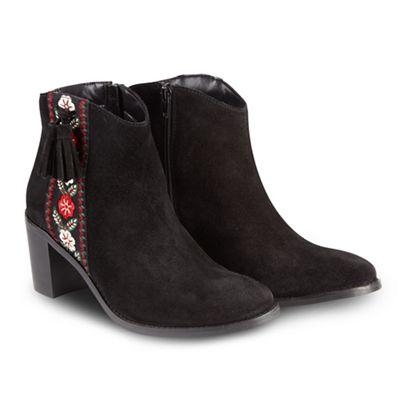 Joe Browns - Black suede high block heel ankle boots