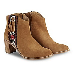 Joe Browns - Tan suede high block heel ankle boots