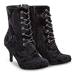 Joe Browns - Black velvet 'Chrissie' high stiletto heel ankle boots