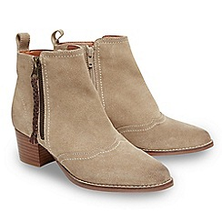 Joe Browns - Natural suede 'Dakota' mid block heel ankle boots