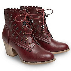 Joe Browns - Dark red '5th Avenue' mid block heel lace up boots
