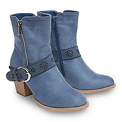 Joe Browns - Light blue suedette 'Brooklyn' mid block heel ankle boots