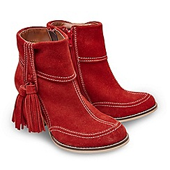 Joe Browns - Bright red suede 'Just Divine' high block heel ankle boots