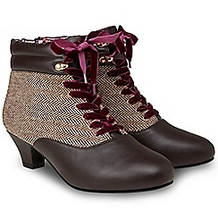 Joe Browns - Brown 'Cute And Tweedy' mid heel lace up boots
