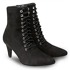 Joe Browns - Black suedette 'Mischief' high stiletto heel lace up boots