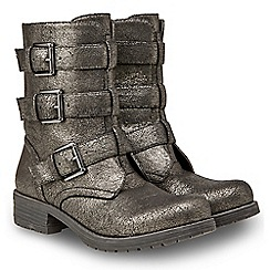 Joe Browns - Metallic 'No Ordinary' mid block heel biker boots