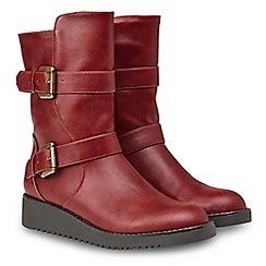 Joe Browns - Red 'Devilish' mid wedge heel biker boots