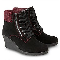 Joe Browns - Black 'Cute To Boot' high wedge heel lace up boots