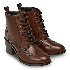 Joe Browns - Brown leather 'Heritage' mid block heel lace up boots